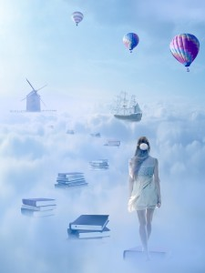 In search for knowledge concept. Fantasy world imaginary view. Woman walking down the book pass above clouds with windmill old ship in horizon. Life success of an educated person, human concept