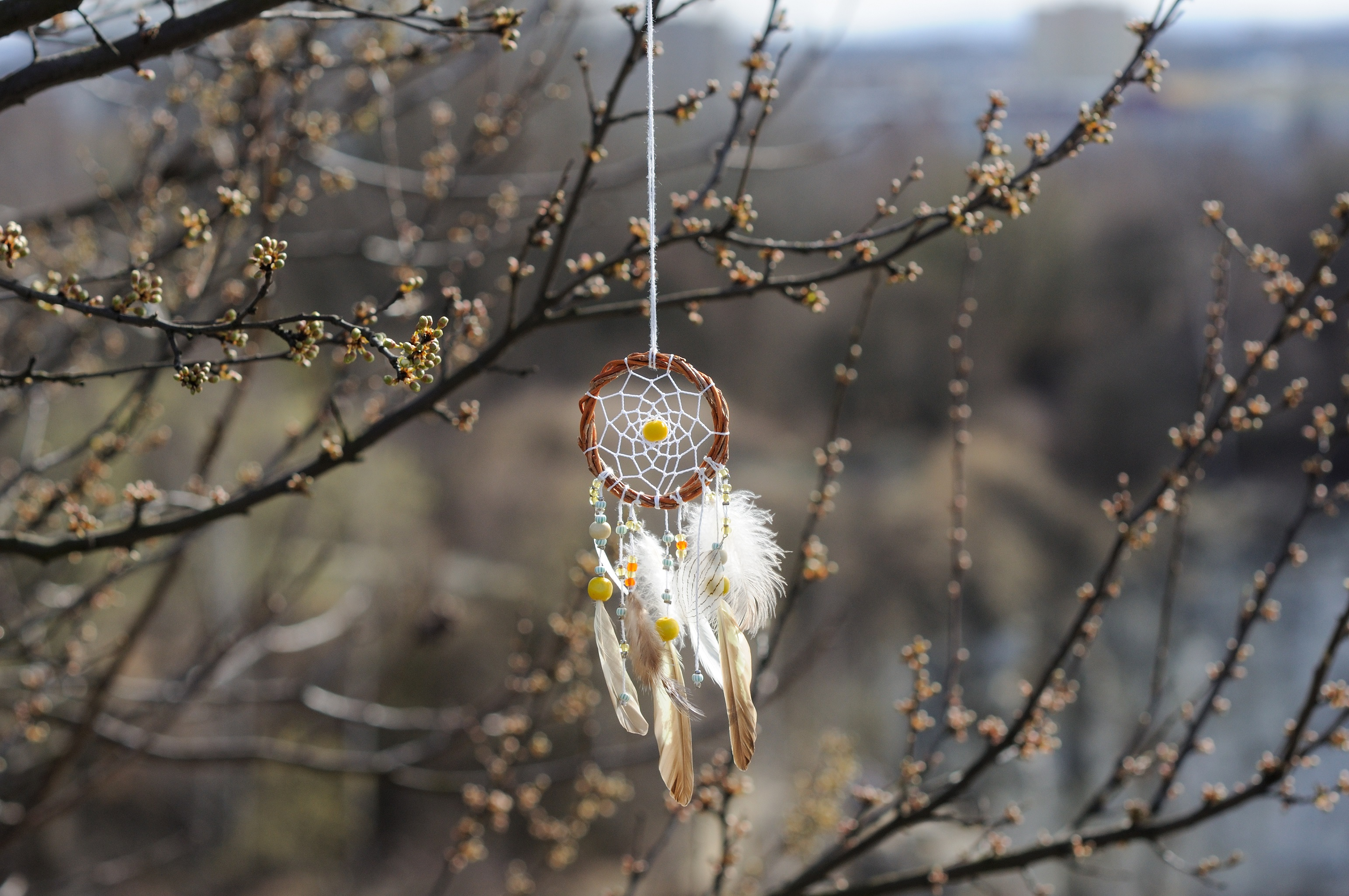 Handmade native american dream catcher on background of rocks and lake. Tribal elements, feathers
